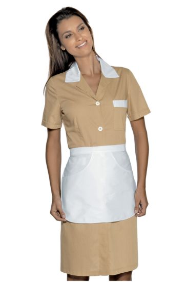 Half sleeves Positano gown with apron - Isacco White+biscuit Colour