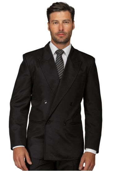 Double-breasted peak lapel jacket for men - Isacco Nero