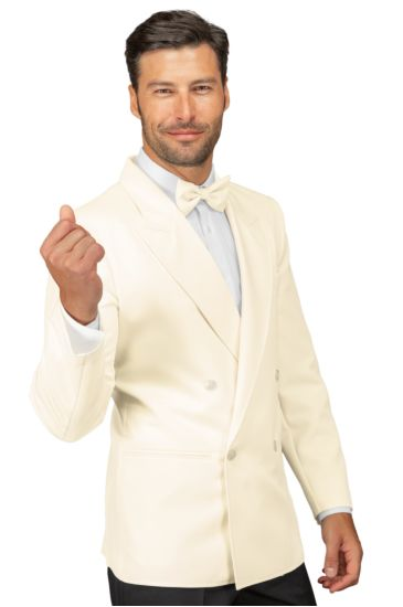 Double-breasted peak lapel jacket for men - Isacco Cream