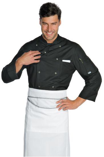 Giacca Cuoco Classica Bottoni a Pressione - Isacco Nero
