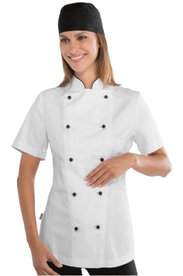 Giacca Lady Chef bottoni antipanico - Isacco Bianco+nero