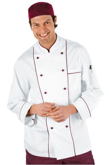 Giacca cuoco Profilata - Isacco Bianco+bordeaux