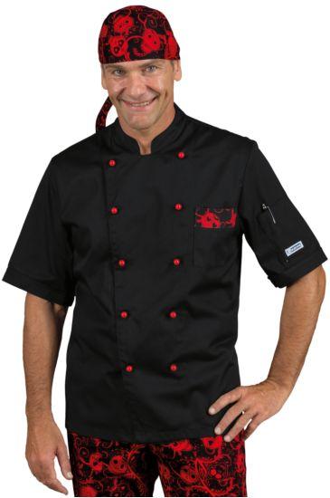 Atlanta chef jacket - Isacco Black+skull 07