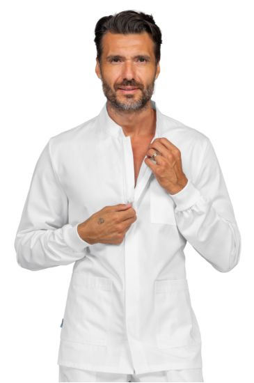 Corfù Korean jacket with zip- Isacco Bianco