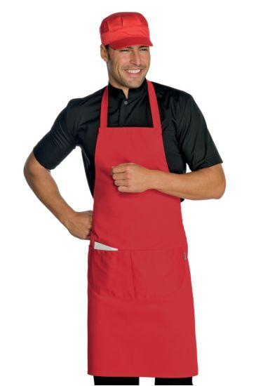 Grembiule Pettorina cm 70x90 con tasca arrotondata - Isacco Rosso