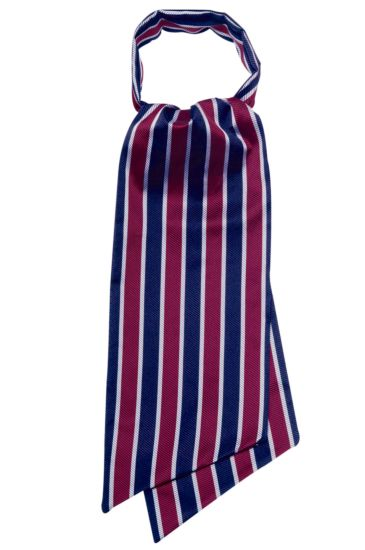 Ascot scarf - Isacco Regimental Grey Bordeaux Blue