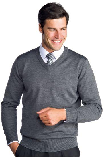 Unisex V-necked sweater - Isacco Grey Melange